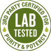3rd party certified for lab tested purity and potency badge